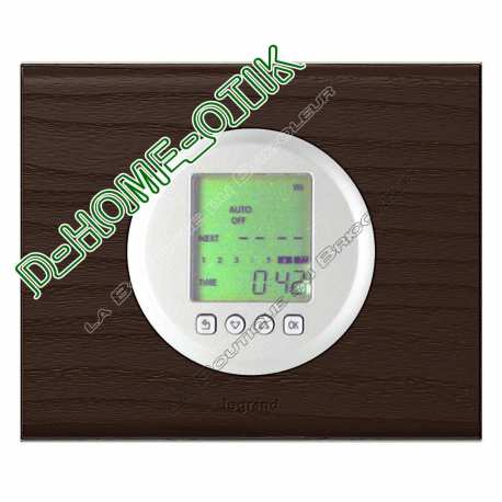 kit complet interrupteur horaire programmable enjoliveur blanc et plaque de finition teinte wengue