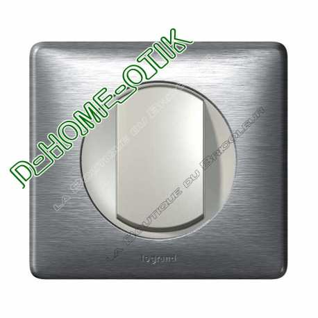 kit complet poussoir celiane 6a enjoliveur titane et plaque de finition aluminium