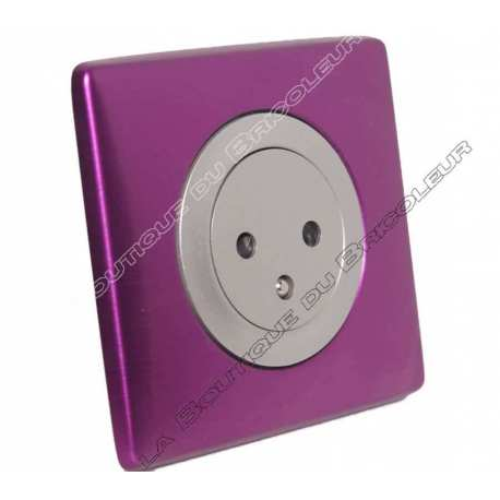 kit complet prise courant surface 2PT 230 volts finition metal anodise violet irise enjoliveur titane