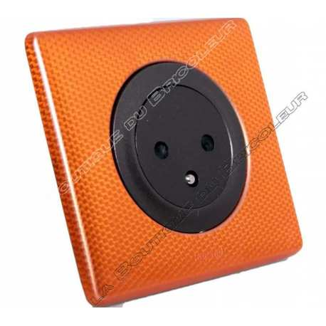 kit complet prise courant surface 2PT 230 volts finition metal anodise orange snake enjoliveur graphite