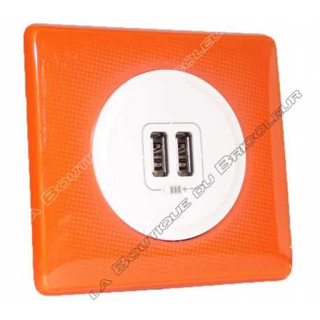 kit complet Prise chargeur USB double celiane finition 70s orange enjoliveur blanc
