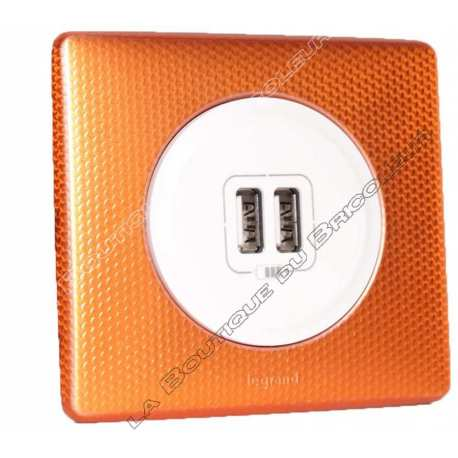 kit complet Prise chargeur USB double celiane finition metal anodise orange snake enjoliveur blanc