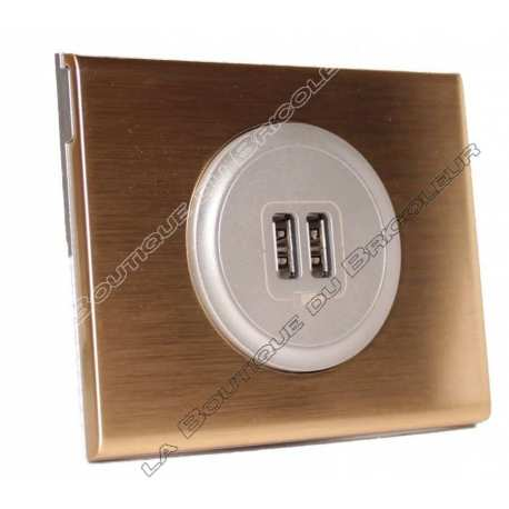 kit complet Prise chargeur USB double celiane finition metal bronze dore enjoliveur titane