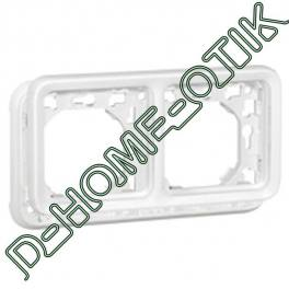 support plaque programme plexo composable blanc artic - 2 postes montage horiz. ref 70794