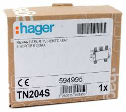 Hager TN204S Repartiteur TV hertzien/satellite 4 sorties COAX