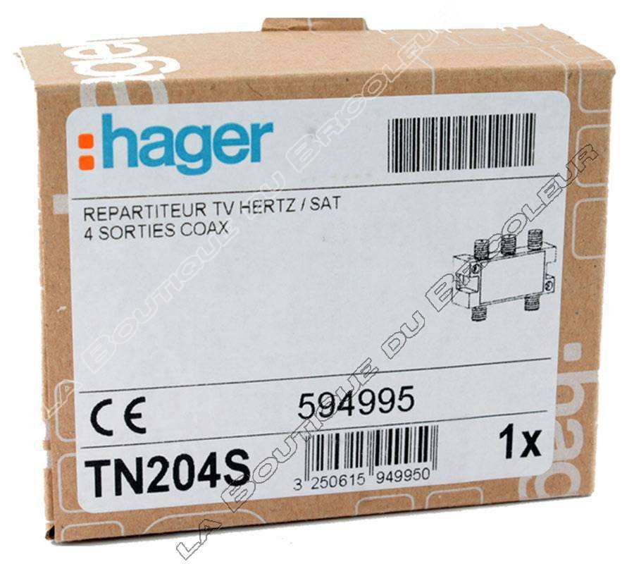 hager tn204s repartiteur tv hertzien satellite 4. Black Bedroom Furniture Sets. Home Design Ideas