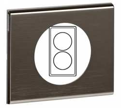 Plaque Celiane 2 postes renovation Black Nickel ref 69038