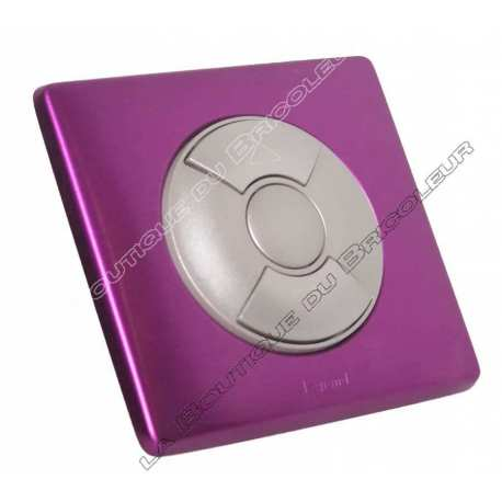 kit complet bouton poussoir simple volet roulant store finition metal anodise violet irise enjoliveur titane