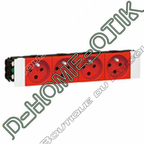 prise pour goulotte clippage direct programme mosaic - 4x2p+t detromp - 8 modules - rouge ref 77124