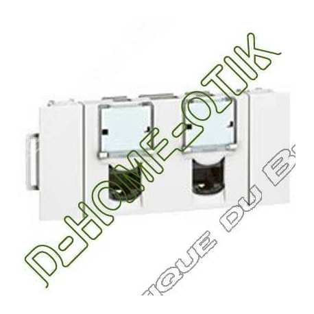 prise double rj 45 programme mosaic - goulotte clippage direct - categorie 6 ftp 3 modules lcs2 ref 76546