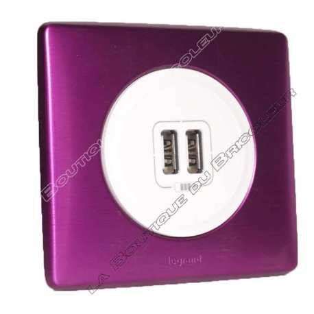 kit complet Prise chargeur USB double celiane finition metal anodise violet irise enjoliveur blanc