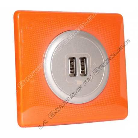 kit complet Prise chargeur USB double celiane finition 70s orange enjoliveur titane