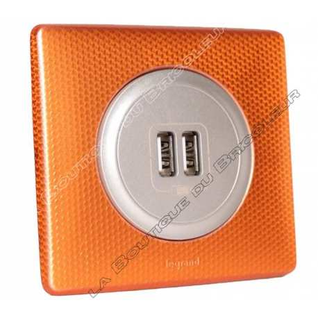 kit complet Prise chargeur USB double celiane finition metal anodise orange snake enjoliveur titane