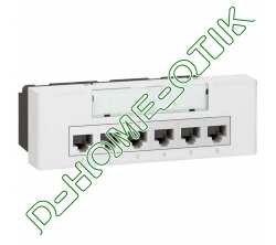 switch-line programme mosaic - 10 100 base t - 6+1rj 45 - 230 v - 6 modules - blanc ref 77900