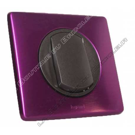 kit complet inter va vient ou inter simple finition metal anodise violet irise enjoliveur graphite