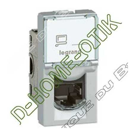 prise rj45 programme mosaic - categorie 6 utp - 8 contacts - 1 modules - alu ref 79461