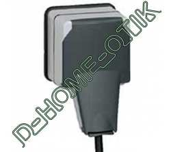 prise 2p+t a volet ip66 - 16 a - 250 volts - plexo 66 composable gris ip66 ik08 ref 90485
