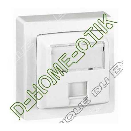 prise rj 45 categorie 5e utp 8 contacts appareillage saillie complet - blanc ref 86059