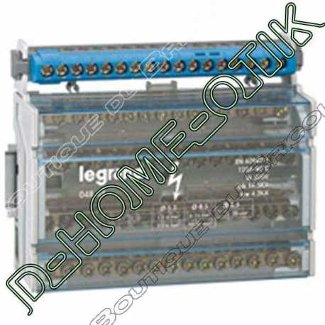 repartiteur modules monobloc lexic - 4p - 125 a - 15 connexions - 8 modules ref 4888