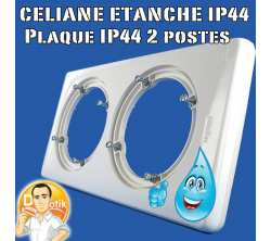 legrand 69072 plaque celiane - ip 44 - 2 postes